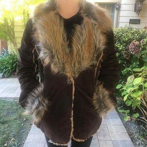 Wilson's Leather Suede Faux Fur Penny Lane Coat L